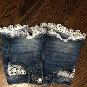 Lace and denim shorts